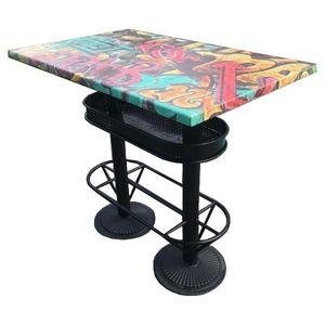 Mathi Design - table haute industrielle 110 graffiti - Mange Debout