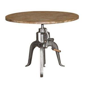 Mathi Design - table réglable en hauteur manivelle - Table De Repas Ronde