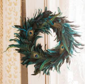 Graham & Green - peacock feather - Couronne De Noël