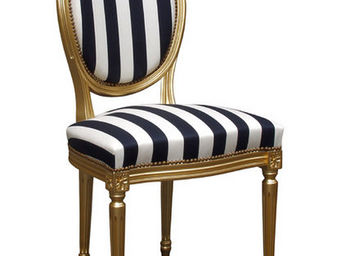 Gilles Nouailhac - chaise louis xvi m�daillon dos garni - Chaise M�daillon