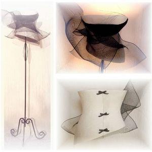 Thé noir - lampadaire esprit corset lingerie - Abat Jour