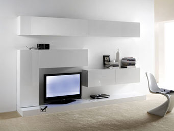 ACHATDESIGN - meuble tv mural banc slim l blanc - Meuble De Salon Living