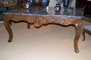 FOSTER-GWIN - louis xv oak amd marble table de chasse - Table À Gibier