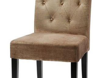 MEUBLES ZAGO - chaise charleston velours - lot de 2 - beige - Chaise
