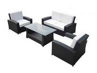 UsiRama.com - ecochic meuble salon en résine tressée noir - Canapé De Jardin