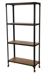 BELDEKO - bibliothèque bois et métal industrielle - Bibliothèque