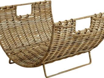 BARCLER - panier à bois en métal et poelet gris 56x55x38cm - Porte Buches