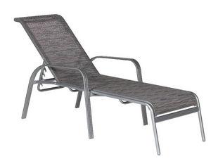 TRAUM GARTEN - bain de soleil gris en aluminium et textilène 189x - Chaise Longue De Jardin