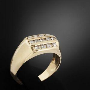 Expertissim - bague type chevalière or et diamants - Bague