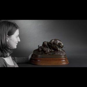 Expertissim - mene. chiens au terrier. groupe sculpté en bronze - Sculpture Animalière