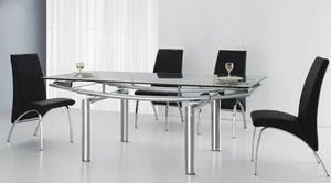 Smart Boutique Design - table en verre a rallonge extensible pearl - Table De Repas Rectangulaire