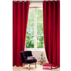 Maisons du monde - rideau velours rouge - Rideaux À Oeillets