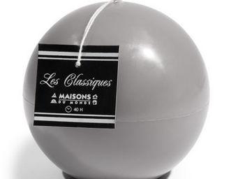 Maisons du monde - bougie boule grise - Bougie Ronde