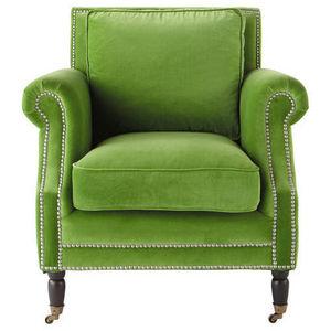 Maisons du monde - fauteuil velours vert dandy - Fauteuil