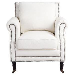 Maisons du monde - fauteuil cuir blanc dandy - Fauteuil