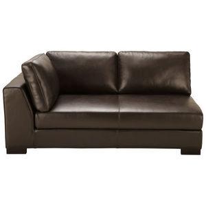MAISONS DU MONDE - canapé manchot cuir gauche fixe marron terence - Canapé D'angle