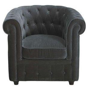 Maisons du monde - fauteuil velours gris chesterfield - Fauteuil