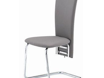 CLEAR SEAT - chaises grises simili cuir tempo lot de 4 - Chaise