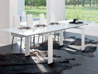 CLEAR SEAT - table de salle � manger � rallonges pieds blancs  - Table De Repas Rectangulaire