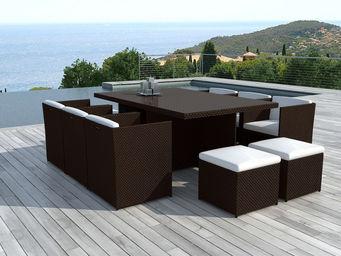BARCLER - salon extérieur confort 10 places en résine tressé - Salon De Jardin