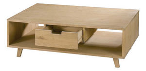 ZAGO - table basse upper 1 tiroir en chêne massif 115x70x - Console