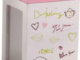 BARCLER - boîte à thé en bois rose et blanc 9x9x13cm - Boite À Thé