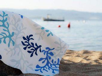 FLEUR DE SOLEIL - corail bleu - Nappe Rectangulaire