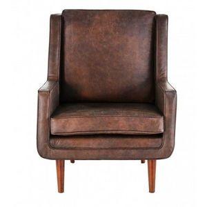 DECO PRIVE - fauteuil en cuir vachette marron vieilli modele bj - Fauteuil