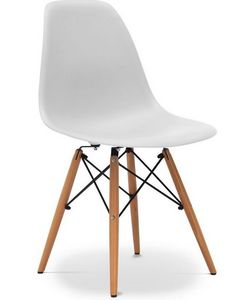 Charles & Ray Eames - chaise blanche design eiffel sw charles eames lot  - Chaise Réception