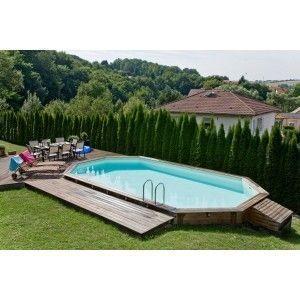 Aqualux - piscine allonge en bois lola - 505 x 305 x 128 cm - Piscine Hors Sol Bois