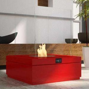 WHITE LABEL - chemine thanol cubi rouge laque - Cheminée Sans Conduit D'évacuation