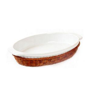 WHITE LABEL - plat ovale en céramique avec support en osier - Plat À Four