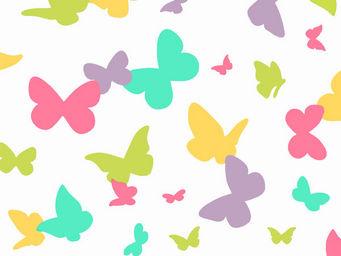 FLEUR DE SOLEIL - tissu papillons pastel 160x160 - Tissu D'ameublement