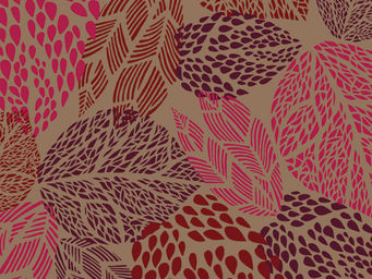 FLEUR DE SOLEIL - tissu feuilles taupe rouge 160x160 - Tissu D'ameublement