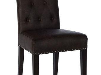 Blanc d 39 ivoire zoe fa on cuir brun chaise - Chaise blanc d ivoire ...
