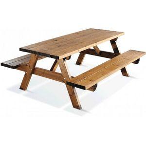 JARDIPOLYS - table de jardin bois 6 places avec bancs intégrés - Table Pique Nique