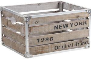 Aubry-Gaspard - caisse new-york bois et m�tal - Caisse De Rangement