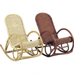 Aubry-Gaspard - fauteuil en manau et moelle de rotin naturelle roc - Rocking Chair