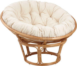 Aubry-Gaspard - fauteuil papasan en rotin avec coussin �cru - Fauteuil De Jardin