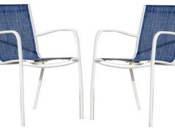PROLOISIRS - fauteuil linea en aluminium blanc sand et textil�n - Chaise De Jardin
