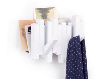 Umbra - porte manteaux sticks blanc 2 crochets avec range- - Portemanteau