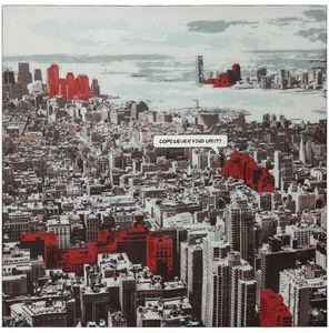 KOKOON DESIGN - toile peinte city structure bois 100x100cm - Tableau Décoratif