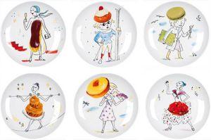 La Chaise Longue - coffret 6 assiettes les gourmandes en porcelaine 2 - Assiette À Dessert