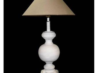 L'HERITIER DU TEMPS - lampe boule en fer et tissu 63 cm - Lampe À Poser