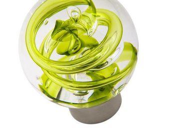 Les Verreries De Brehat - tubes de bulles sph�rique vert - Bouton De Porte