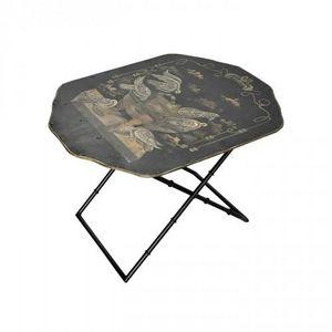 Demeure et Jardin - table basse toile peinte colombes - Table Basse Forme Originale