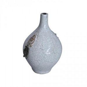 Demeure et Jardin - vase terre cuite verniss�e et craquel�e blanc - Soliflore