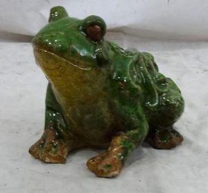 Demeure et Jardin - petite grenouille en c�ramique - Ornement De Jardin