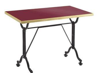 Ardamez - table de repas émaillée rouge / laiton / fonte - Table De Repas Rectangulaire