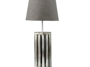 Interior's - lampe bois patiné gabrielle - Lampe À Poser